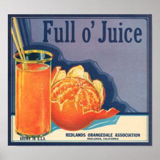 Étiquette orange de caisse de fruit de plein jus posters