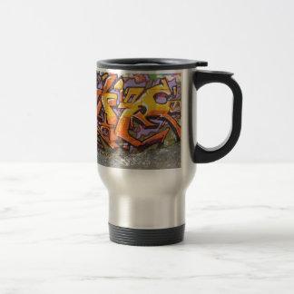 Étiquette orange de graffiti mug de voyage
