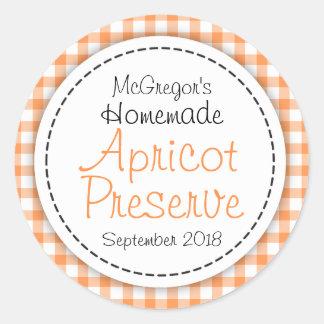Étiquette orange de nourriture d'abricot de sticker rond