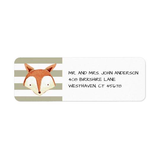 Étiquette orange de rayures de marine de Fox