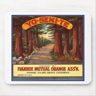 Étiquette orange vintage de Yo-Semi-Te Tapis De Souris