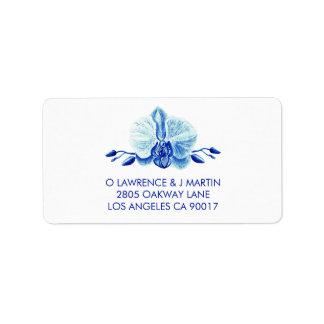 Étiquette Orchidée bleue rayonnante florale