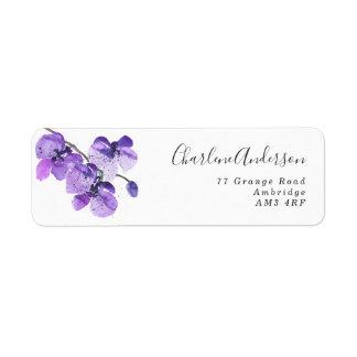 Étiquette Orchidée violette d'aquarelle personnalisée