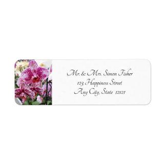 Étiquette Orchidées éclaboussées de rose et blanches