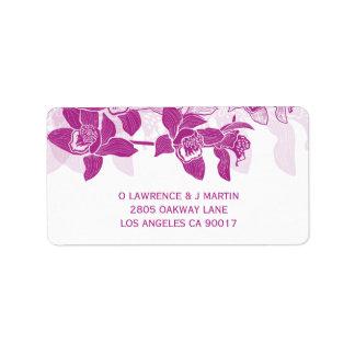 Étiquette Orchidées magenta élégantes florales