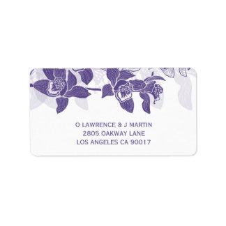 Étiquette Orchidées pourpres élégantes florales