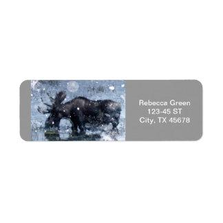 Étiquette Orignaux rustiques de taureau de faune de région