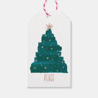Étiquette Painterly de cadeau de Noël d'arbre
