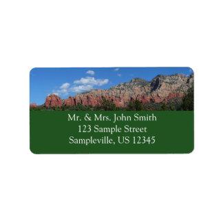 Étiquette Panorama des roches rouges dans Sedona Arizona