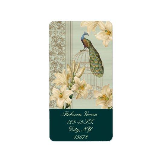 Étiquette paon vintage de cage à oiseaux de lis français de