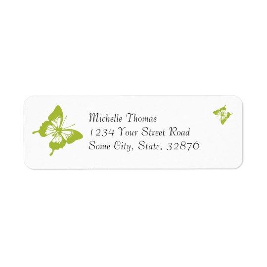 Étiquette Papillon blanc et vert épousant l'adresse de