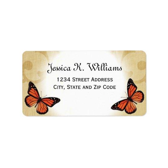 Étiquette Papillon de monarque sur le parchemin
