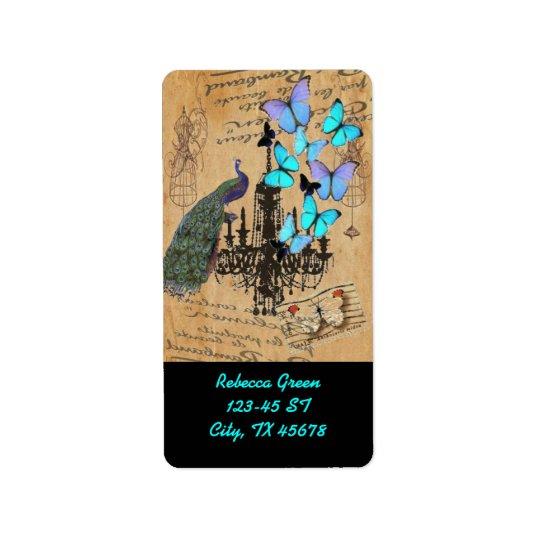 Étiquette papillon vintage moderne de bleu de paon de lustre