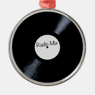 Étiquette par radio de disque de mélange ornement rond argenté