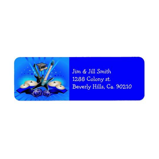 Étiquette Partie bleue de diplômé de guitares électriques,