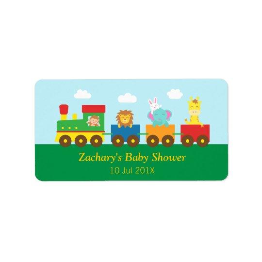 Étiquette Partie de baby shower mignonne colorée de train