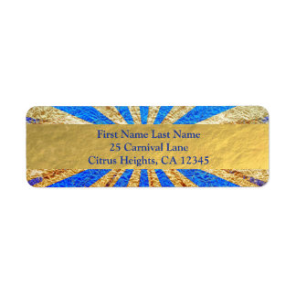 Étiquette Partie vintage de feuille d'or de bleu royal de
