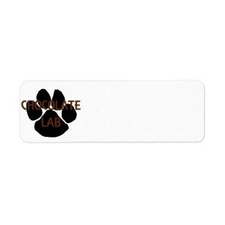 Étiquette patte de méga de nom de laboratoire de chocolat