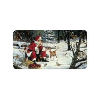 Étiquette Peinture du père noël - art de Noël