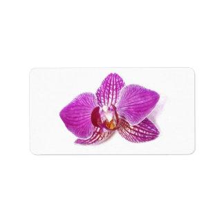 Étiquette Peinture florale d'aquarel de phalaenopsis lilas
