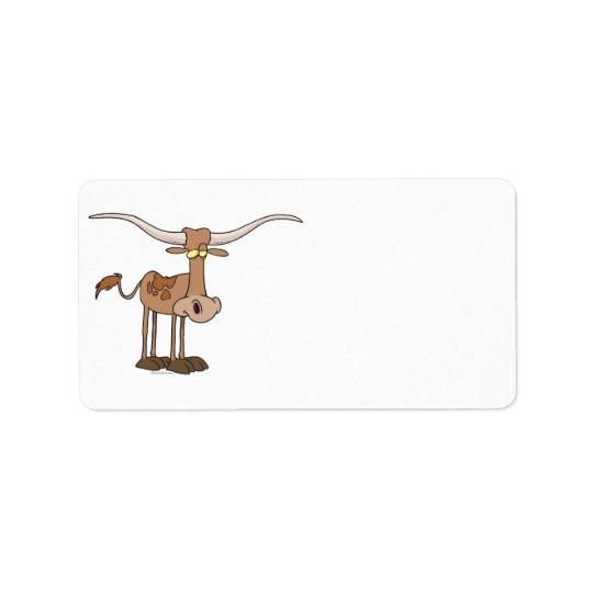 Étiquette personnage de dessin animé idiot de vache à