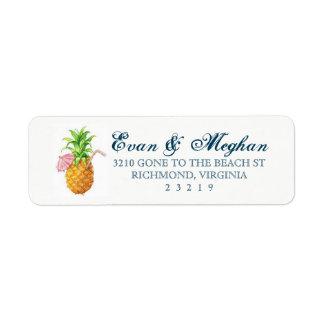 Étiquette personnalisable d'ananas de plage