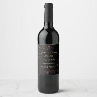 Étiquette personnalisable foncé élégant de vin