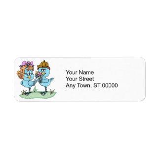 Étiquette petits oiseaux bleus mignons dans le graphique de