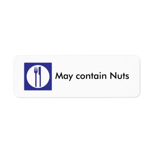 Étiquette Peut contenir l'étiquette d'écrous