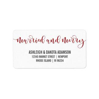 Étiquette Photo rouge mariée et joyeuse de nouveaux mariés