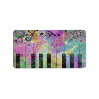 Étiquette Piano coloré d'éclaboussures fraîches de couleurs