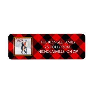 Étiquette Plaid rouge de flanelle de photo de Joyeux Noël