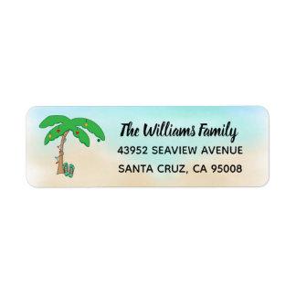 Étiquette Plate-forme hawaïenne de Noël de plage tropicale