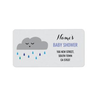 Étiquette Pluie de nuage de baby shower de garçon bleu