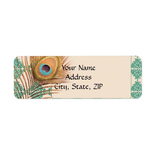 Étiquette Plume de paon sur la tuile marocaine turquoise