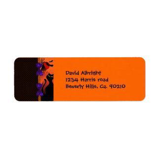 Étiquette Point de polka Halloween noir pourpre orange