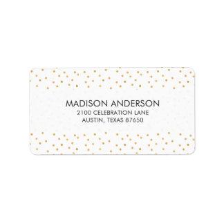 Étiquette Points modernes élégants de confettis de blanc et