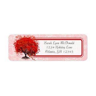 Étiquette Points roses rouges de remous d'arbre lunatique