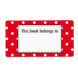 Étiquette Pois en rouge et blanc