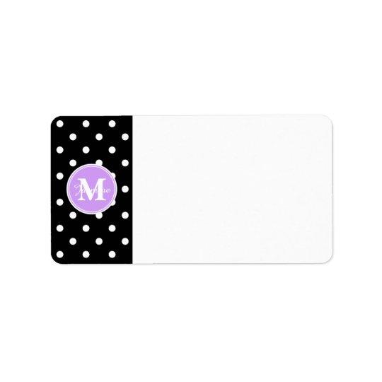 Étiquette Pois pourpre de blanc de noir de monogramme