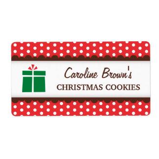 Étiquette Pois rouge de cadeau de Noël mettant en boîte