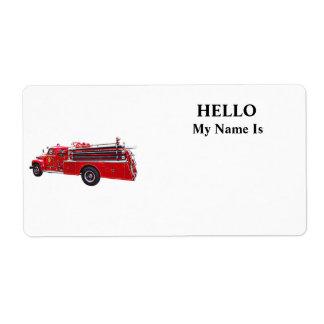 Étiquette Pompe à incendie vintage d'ouvrier chargé des