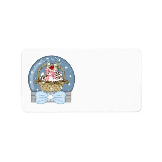 Étiquette Porc doux de Noël dans un panier Snowglobe