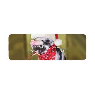 Étiquette Porc le père noël - porc de Noël - porcelet