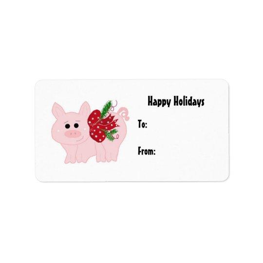 Étiquette porcine de cadeau de Noël mignon