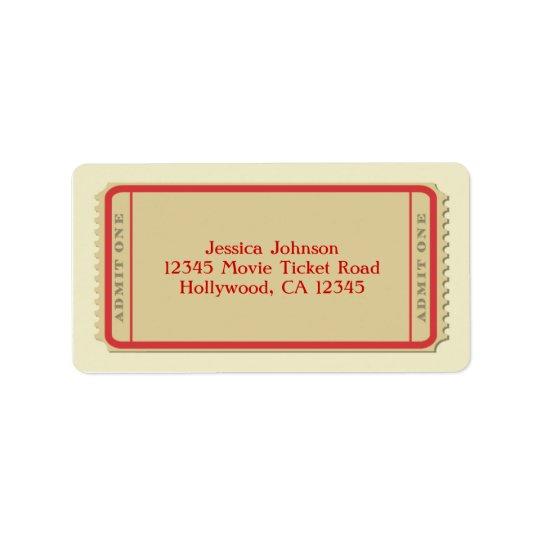 Étiquette postale de billet de film