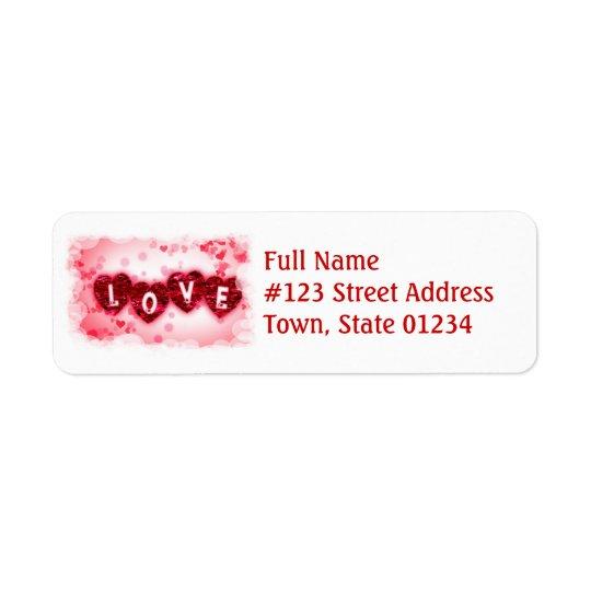 Étiquette postale de lettres d'amour
