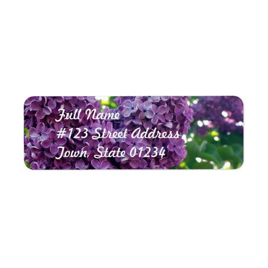 Étiquette postale pourpre de lilas