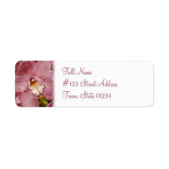 Étiquette postale rose d'orchidée