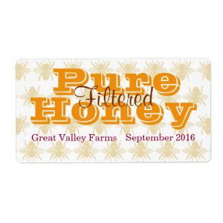 Étiquette Pot de miel filtré par reine des abeilles